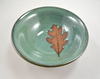 Pottery Leaf Bowl with Oak Leaf Imprint Wheel Thrown Stoneware Pottery