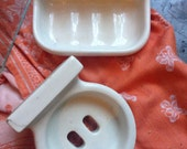 Old French PORCELAIN soap dish / toothbrush holder