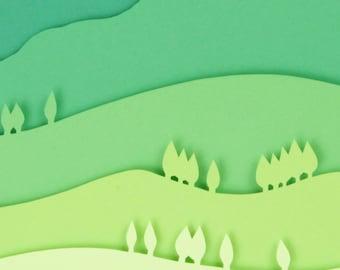 3D Paper Art Green Mountain