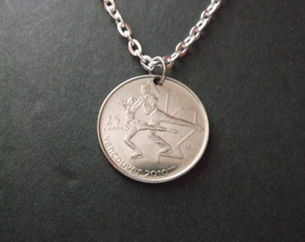 Canada Vancouver 2010 Coin Necklace - 2010  Canada Coin Pendant with Chain -
