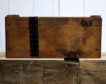 Old & Board Box with Leather Strap and Copper Tacks