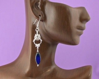 Sterling Silver Chainmaille Byzantine Earrings With Lapis Marquise Dangles