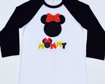 DISNEY MOMMY/DADDY-Personalized Embroidered Baseball Tee