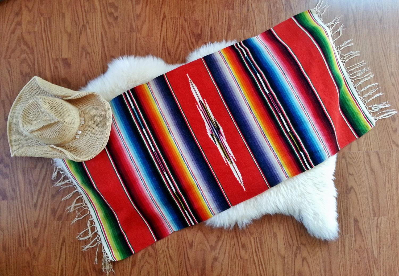 Vintage Mexican Woven Saltillo Serape Crochet Fringe Lap