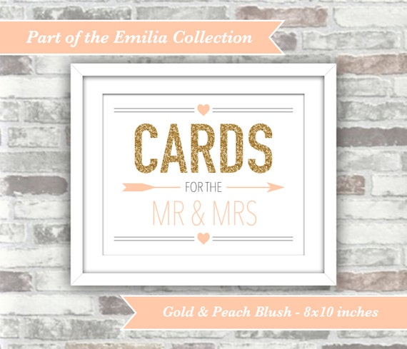 INSTANT DOWNLOAD - Emilia Collection - Wedding Cards Sign Decor - 8x10 Printable Digital File - Gold Glitter Effect and Peach Blush - Mr Mrs
