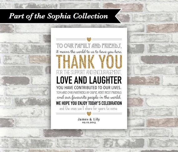 PRINTABLE Digital File - Sophia Collection - Personalised Wedding Thank You Sign Table Decor Place Setting - Gold Glitter Effect Black - 6x8