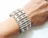 Art Deco Rhinestone Cuff Bracelet, Bridal Bride Wedding Jewelry, Old Hollywood Accessory, Vintage 1930s Crystal Bracelet