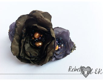 rose with pearls, hair accessories, floral hair barrette, purple roses handmade jewelry love gifts bohemian jewelry fashion gift rebelsoulek