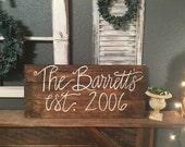 Custom wooden family name sign