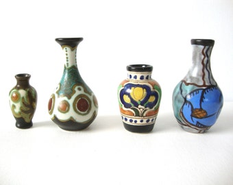 Miniature Collection Ivora Gouda Floral and Henley Pottery Vases