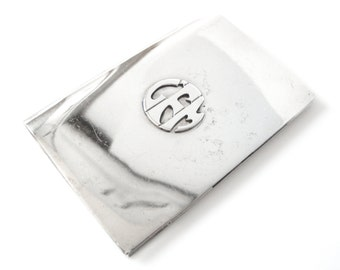 Leonore Doskow Sterling Silver Business Card Case Monogrammed CMF