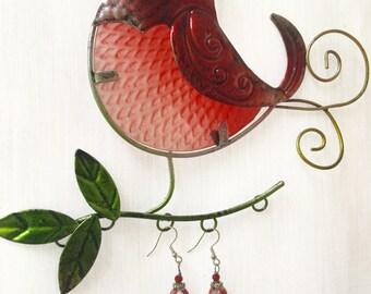 Red White Peppermint Swirl Lampwork Beaded Drop Earrings