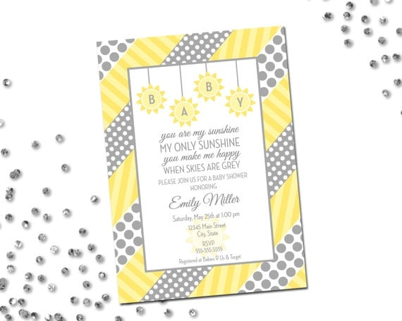 You are my sunshine baby shower invitation grey and yellow polka il570xn filmwisefo