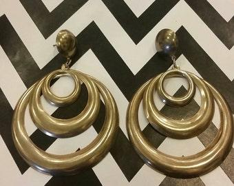 Vintage Oversized Layered Hoop Brass Earrings