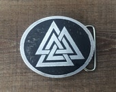 Valknut, Viking Knot, Triangle, Belt Buckle, Aluminum Belt Buckle, Custom Made, Etched Metal, Made In USA, Viking, Norse, Scandinavia,