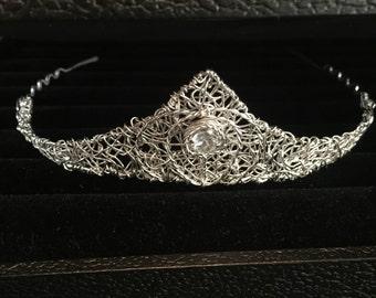 Sterling Silver with White Topaz, Wedding Crown Headpiece, Elfish Tiara, Enchanted Crown, Crown Jewels, Filigree Crown