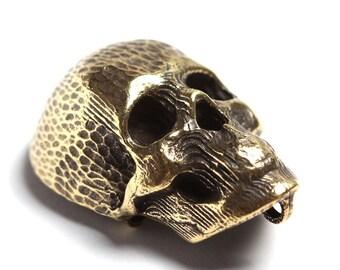 Skull pendant vintage decor. Antique bronze color. Sugar skull, stripes, jewelry findings L3201(1). Rare