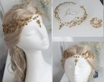 Gold Crystal Headpiece Bracelet Set