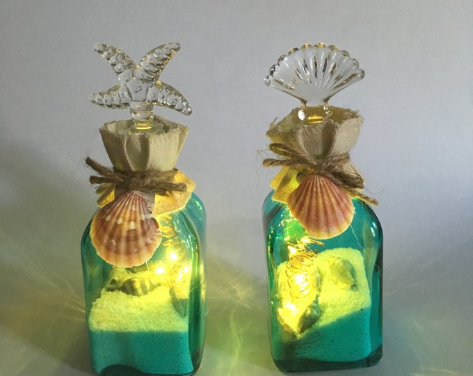 Lighted Seashell Bottles
