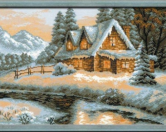 "Cross Stitch KIT 1080 ""Winter View"" - by RIOLIS (Counted cross stitching, Sewing & Needlecraft, Embroidery pattern) PREMIUM Quality!"