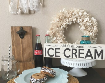 Old fashioned ice cream wood sign