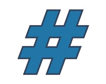 12 SIZES!!! Hashtag # Embroidery Machine Design