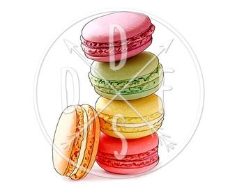 A0059 - Macarons Tower, Pink, Yellow, Green, Orange - Digital Print for Instant Download. Printable Illustration. PNG, JPG files 8x10''.