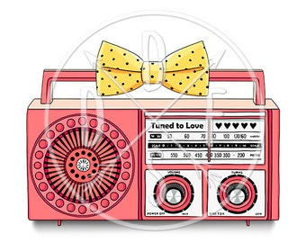 A0101_pink - Pink Retro Radio/Vintage, Yellow Polka Dot Bow - Digital Print, Instant Download. Printable Illustration. PNG/JPG files 8x10''.