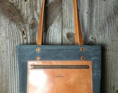 The Jayne Canvas Tote - Charcoal & Caramel
