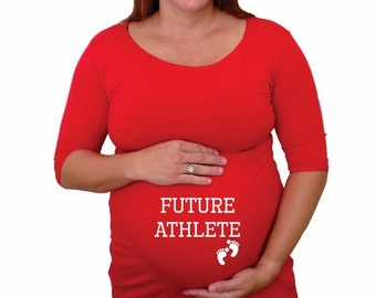 "Spring Sale, 10% OFF Ends April 30th. Funny  Black Maternity shirt "" Future Athlete""   , sport related maternity shirt- A204"