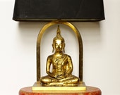 Vintage Buddha Lamp - Buddhist Statue - Asian Bohemian Lighting Decor