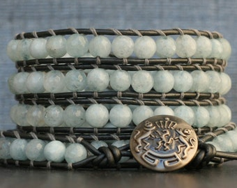 aquamarine wrap bracelet - light blue faceted beads on pewter leather - beaded