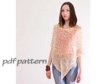 PATTERN boho poncho by ToBeStudio Cotton poncho  Knitted summer poncho Hand knit poncho  Women  poncho  Knitting pattern poncho PATTERN