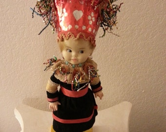 Vintage Doll Wearing Party Hat - For Decorative purposes only - NOT a toy