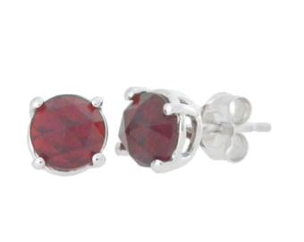 Garnet Checkerboard Round Stud Earrings .925 Sterling Silver