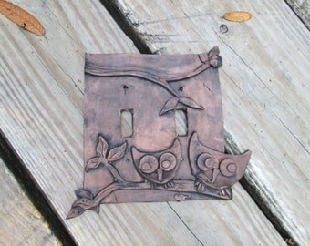 Owls, modern art, Light switchplate cover, resin light switch cover, handmade, one of a kind, hand painted, copper look