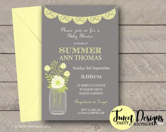 BABY SHOWER Invitation, Neutral Baby Shower Invitation, Girl or Boy Baby Shower, Mason Jar Invitation, Lemon Mason Jar Baby Shower Invite