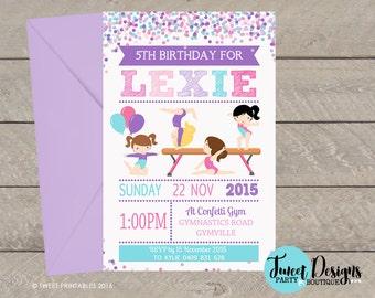 GYMNASTICS PARTY INVITATION, Printable Gymnastic Invitation, Gymnastic Party Invitation, Gymnastics Confetti Girl Party Invitation, Confetti