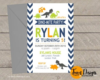 DINOSAUR INVITATION, Printable DINOSAUR Invitation, Dinosaur Party Invitations, Dinosaur Birthday Invitation, Dinosaur Chevron Invitations