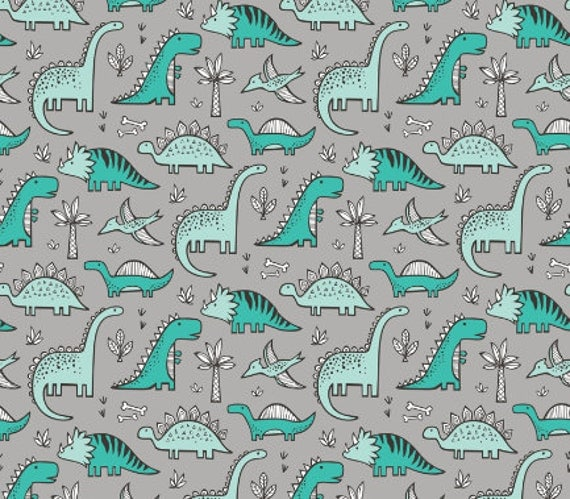 Dinosaur baby boy or girl minky blanket gray turquoise for Grey dinosaur fabric