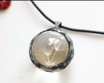 2 pcs of hand made pendant   fit with glass cabochon and real Dandelion-dry flower inside 20mm-Metalized