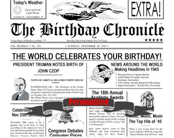 PERSONALIZED 35th 45th 55th 65th Birthday Gift Keepsake Birthday Time Capsule Birthday Nostalgia 8 x 10 DIGITAL DOWNLOAD