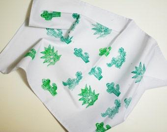 Linocut Print Cotton Tea Towel/ Succulents/ Cactus