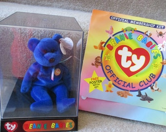 First Edition Ty Beanie Baby Clubby in case and official membership folder card stickers newsletter