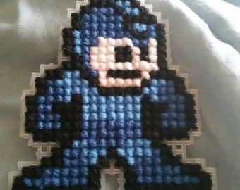 Megaman Cross-Stitch Keychain/Wall Hanging