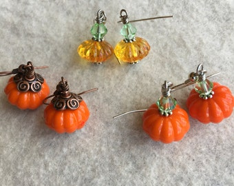 Acrylic Pumpkin Earrings set of 3