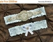 SALE Wedding Garter Belt, Bridal Garter Set - Blue Lace Garter, Keepsake Garter, Toss Garter, Crystal Embellishment Blue, Something Blue Gar