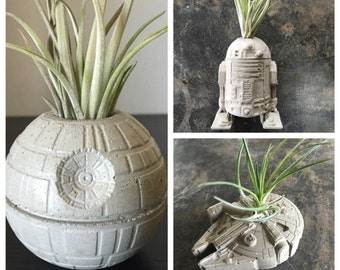 Star Wars Gift Pack - Set of 3 Concrete Planters - Millennium Falcon - Death Star - R2D2
