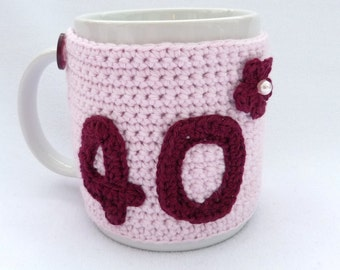 Crochet mug cozy 40th Birthday gift.