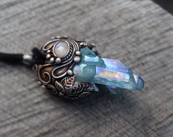 SHIPPING INCLUDED Aqua Aura Quartz Point and Moonstone Pendant